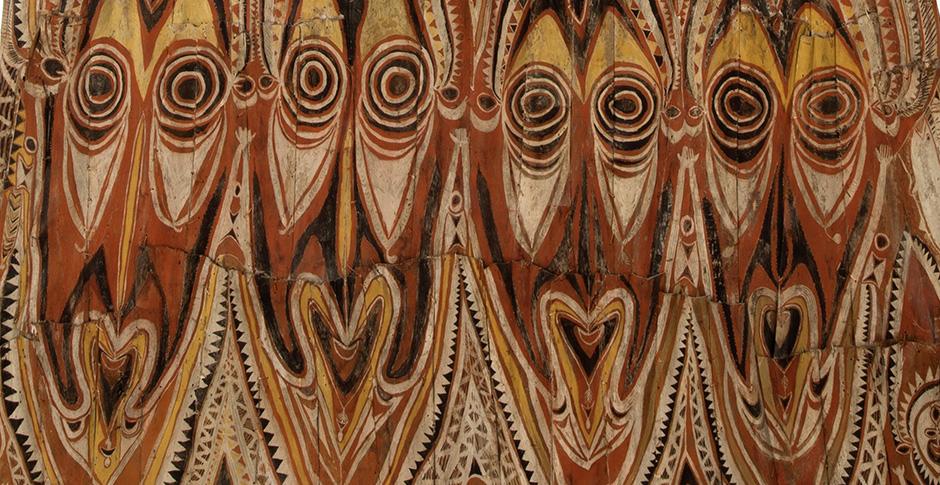 Giebelwand eines Zeremonial-Vorratshauses für Yams, Papua-Neuguinea